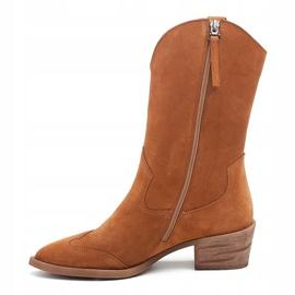 Marco Shoes Miedziane botki z naturalnego zamszu 2