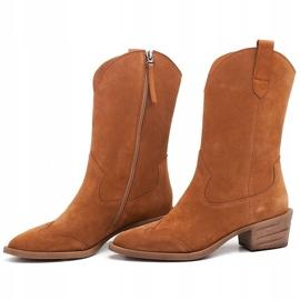 Marco Shoes Miedziane botki z naturalnego zamszu 6