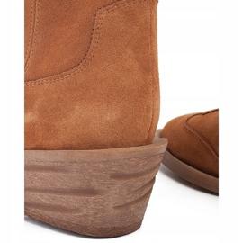 Marco Shoes Miedziane botki z naturalnego zamszu 3
