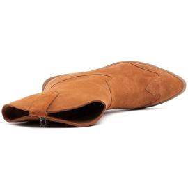Marco Shoes Miedziane botki z naturalnego zamszu 4