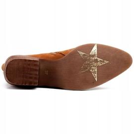 Marco Shoes Miedziane botki z naturalnego zamszu 5