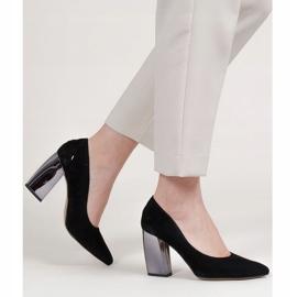Marco Shoes Czarne czółenka z metalicznym obcasem 3