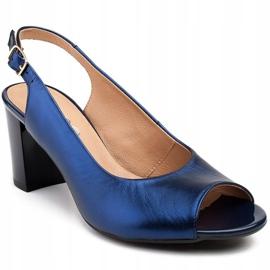 Marco Shoes Sandały metaliczne Marco ze skóry na stabilnym obcasie granatowe niebieskie 1