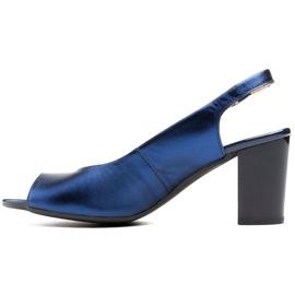 Marco Shoes Sandały metaliczne Marco ze skóry na stabilnym obcasie granatowe niebieskie 2
