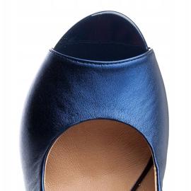 Marco Shoes Sandały metaliczne Marco ze skóry na stabilnym obcasie granatowe niebieskie 6