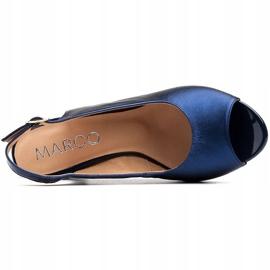 Marco Shoes Sandały metaliczne Marco ze skóry na stabilnym obcasie granatowe niebieskie 5