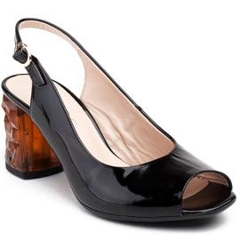 Marco Shoes Lakierowane sandały czarne z bursztynowym obcasem 3D 1