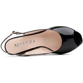 Marco Shoes Lakierowane sandały czarne z bursztynowym obcasem 3D 4