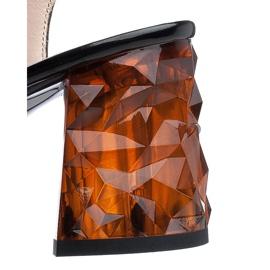 Marco Shoes Lakierowane sandały czarne z bursztynowym obcasem 3D 6