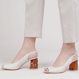 Marco Shoes Skórzane sandały białe z obcasem 3D 1517P 3