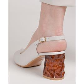 Marco Shoes Skórzane sandały białe z obcasem 3D 1517P 5