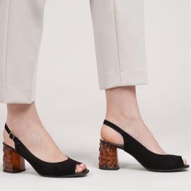 Marco Shoes Zamszowe sandały czarne z bursztynowym obcasem 3D 1