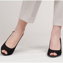 Marco Shoes Zamszowe sandały czarne z bursztynowym obcasem 3D 3