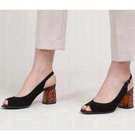 Marco Shoes Zamszowe sandały czarne z bursztynowym obcasem 3D 4