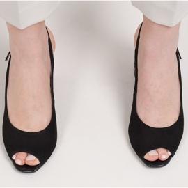 Marco Shoes Zamszowe sandały czarne z bursztynowym obcasem 3D 5
