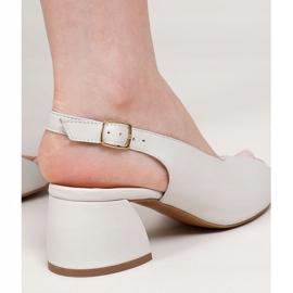 Marco Shoes Białe sandały 1573P ze skóry na stabilnym obcasie 5