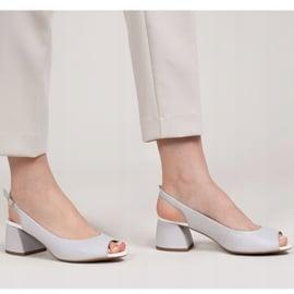Marco Shoes Sandały 1506P z szarej skóry na stabilnym obcasie 1