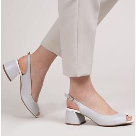 Marco Shoes Sandały 1506P z szarej skóry na stabilnym obcasie 2