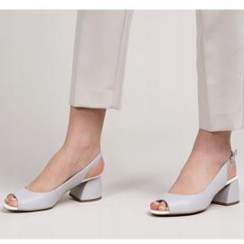 Marco Shoes Sandały 1506P z szarej skóry na stabilnym obcasie 3