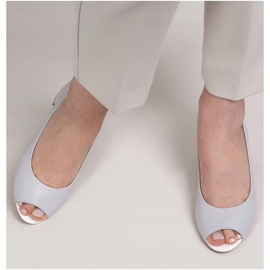 Marco Shoes Sandały 1506P z szarej skóry na stabilnym obcasie 4