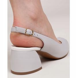 Marco Shoes Sandały 1506P z szarej skóry na stabilnym obcasie 5