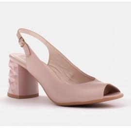 Marco Shoes Różowe sandały na obcasie 3D 1