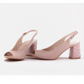Marco Shoes Różowe sandały na obcasie 3D 2