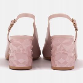 Marco Shoes Różowe sandały na obcasie 3D 3
