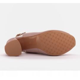 Marco Shoes Różowe sandały na obcasie 3D 5