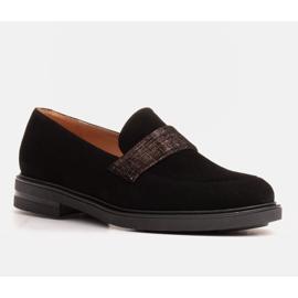 Marco Shoes Czarne mokasyny z welurem ze zdobieniem 5