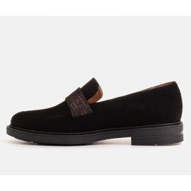 Marco Shoes Czarne mokasyny z welurem ze zdobieniem 4