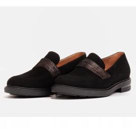Marco Shoes Czarne mokasyny z welurem ze zdobieniem 2