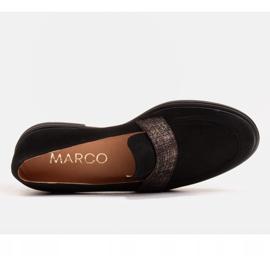 Marco Shoes Czarne mokasyny z welurem ze zdobieniem 3