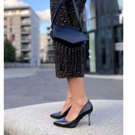 Marco Shoes Szpilki czarne z metalicznym obcasem 7