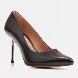 Marco Shoes Szpilki czarne z metalicznym obcasem 1