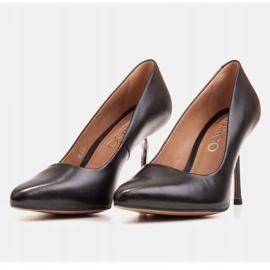 Marco Shoes Szpilki czarne z metalicznym obcasem 3