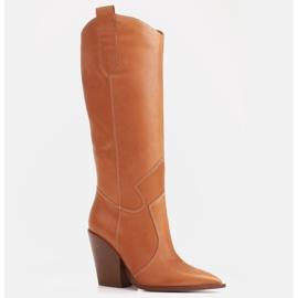 Marco Shoes Brązowe kozaki Marco 1399K kowbojki damskie 4