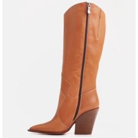 Marco Shoes Brązowe kozaki Marco 1399K kowbojki damskie 3