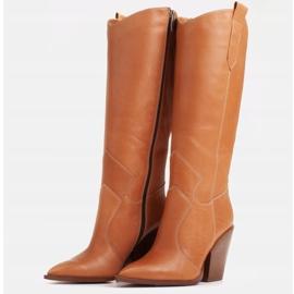 Marco Shoes Brązowe kozaki Marco 1399K kowbojki damskie 2