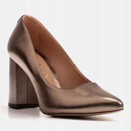 Marco Shoes Brązowe czółenka damskie z naturalnej skóry metalicznej 1