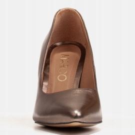 Marco Shoes Brązowe czółenka damskie z naturalnej skóry metalicznej 2