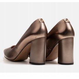 Marco Shoes Brązowe czółenka damskie z naturalnej skóry metalicznej 6