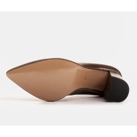 Marco Shoes Brązowe czółenka damskie z naturalnej skóry metalicznej 7