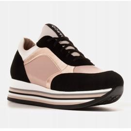 Marco Shoes Lekkie sneakersy na grubej podeszwie z naturalnej skóry czarne różowe 6