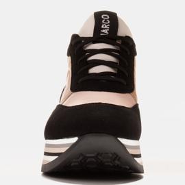 Marco Shoes Lekkie sneakersy na grubej podeszwie z naturalnej skóry czarne różowe 1