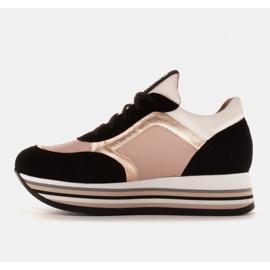 Marco Shoes Lekkie sneakersy na grubej podeszwie z naturalnej skóry czarne różowe 2