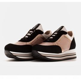 Marco Shoes Lekkie sneakersy na grubej podeszwie z naturalnej skóry czarne różowe 3