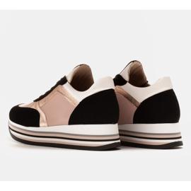 Marco Shoes Lekkie sneakersy na grubej podeszwie z naturalnej skóry czarne różowe 4