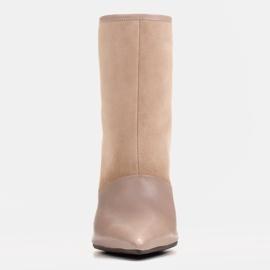 Marco Shoes Botki damskie na szpilce w połączeniu skóry i zamszu beżowy 1