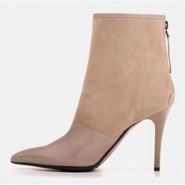 Marco Shoes Botki damskie na szpilce w połączeniu skóry i zamszu beżowy 3